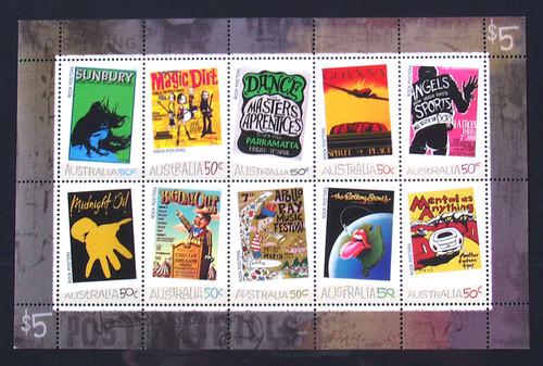 Stamps AUSTRALIAN MUSIC Minisheet MNH Rock Posters (10) 2006