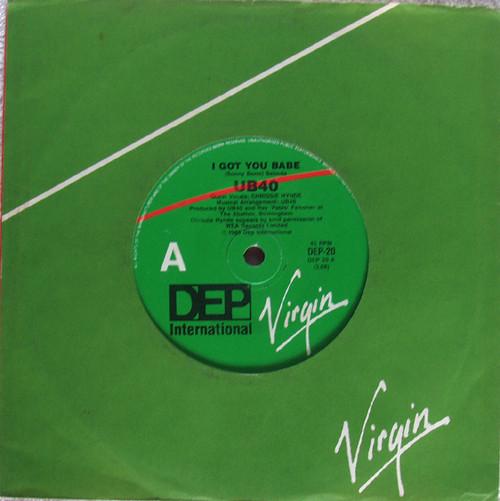 """Pop Reggae  -  UB40 (Chrissie Hynde vocals) I Got You Babe  7"""" Vinyl 1985"""