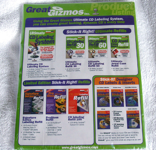 Great Gizmos CD Trugold label pack - 60 opaque bright white