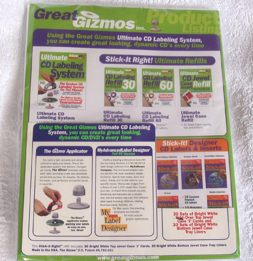 Great Gizmos CD 30x J card & 30x White printable front and rear liners