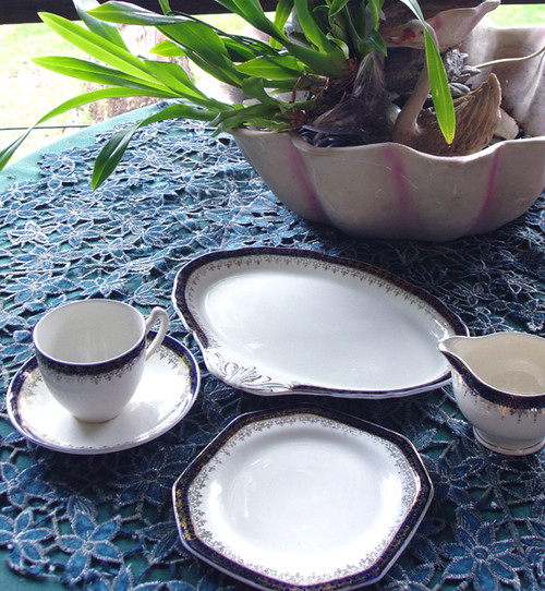 """English Chinaware - ALFRED MEAKIN """"Bleu De Roi"""" Tea Serving For One"""