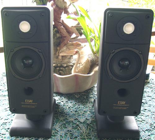 Retro ONKYO ESSAY 80W+ 80W Bookshelf Speakers Model: D-07 (Working Great)