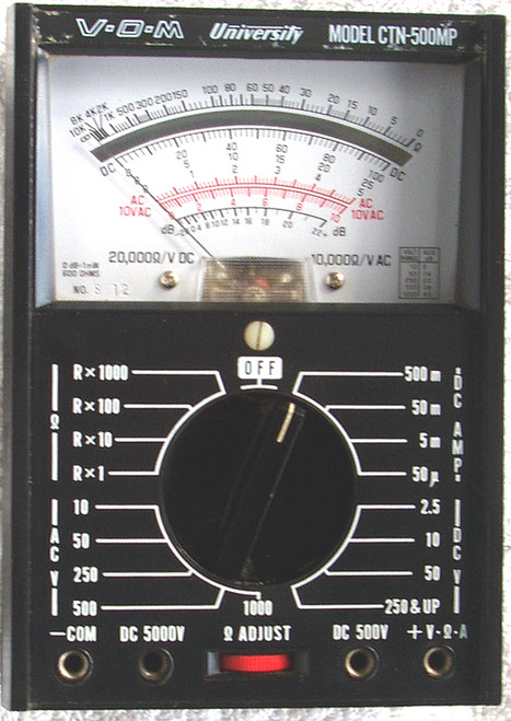 UNIVERSITY V-O-M (Multimeter) Model: CTN-500MP Without Leads (Working)