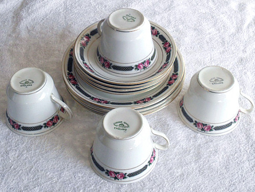 1907-1920 TUSCAN English Chinaware Trio's (Set Of Four)
