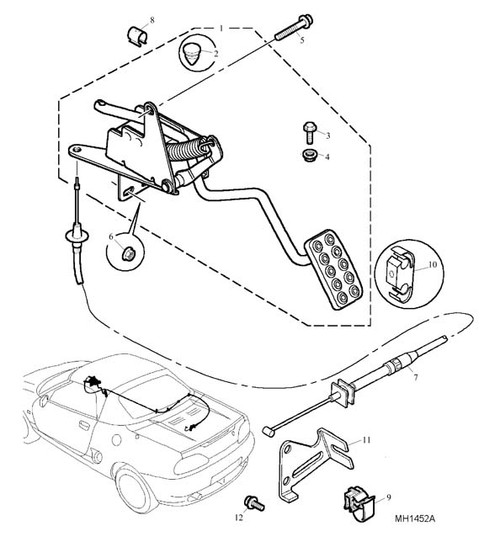 Clip-cable to body - also secures bonnet cable - RHD -U