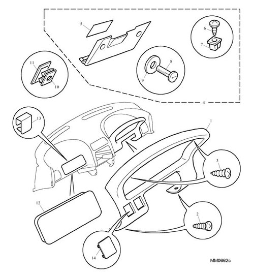 Screw - Self Tapping - instrument bezel - upper -U