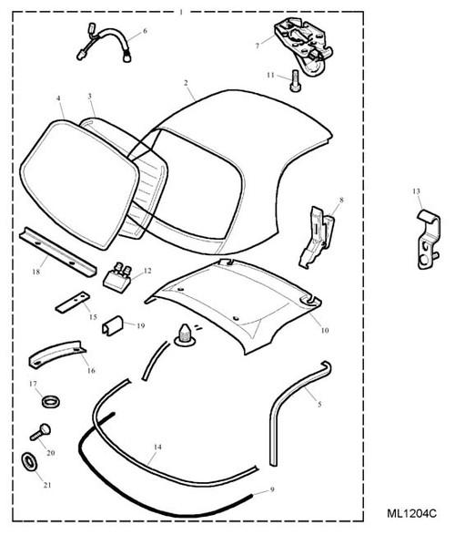 Catch Assembly - Front Header - Black - RH - rail to windscreen -U