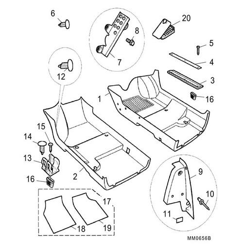 Screw - M6 x 20 - footrest -U