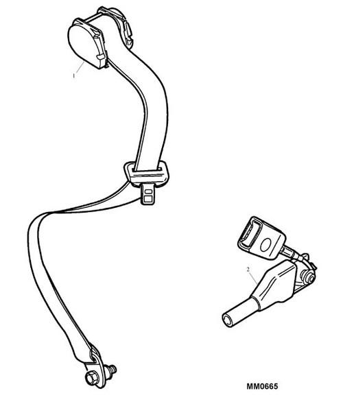 Seat Belt Asbly - Short End - Stalk & Pre-Tens - Ash Grey - RH - MGF. MG TF to VIN 4D620548 -U