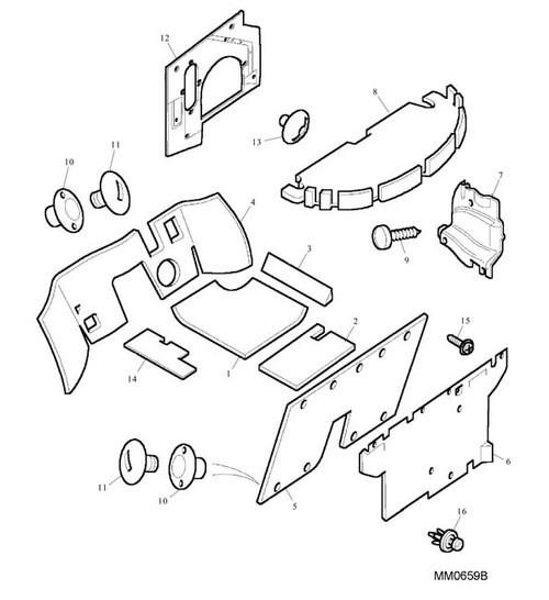 Clip - Male - rear bulkhead pad -U