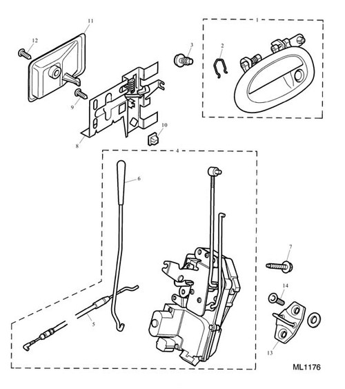 Front Door Latch Assembly - RH - Remote and Key Operation - RHD -U - excludes cable and button link