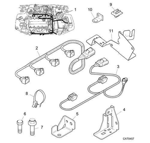 Screw - Flanged Head - M6 x 10 - engine harness earth -U