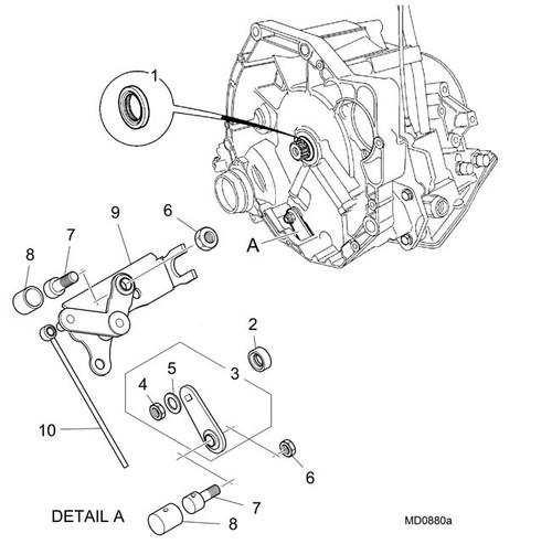 Nut - M8 bolt to lever & bellcrank -U