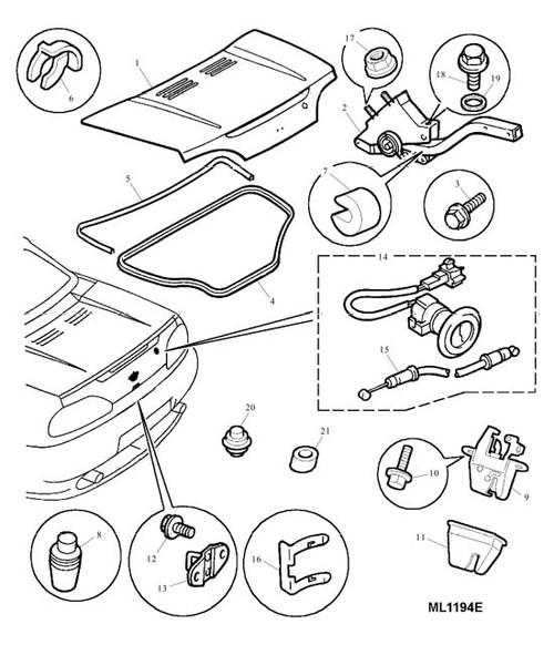 Circlip - boot lid latch seal -U