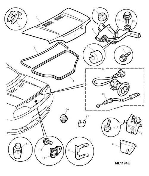 Hinge Assembly - Boot Lid - LH - MGF (not Trophy). MG TF -U