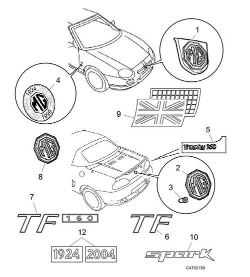 Badge - TF - Rear Panel - MG TF (not TF 160) -U