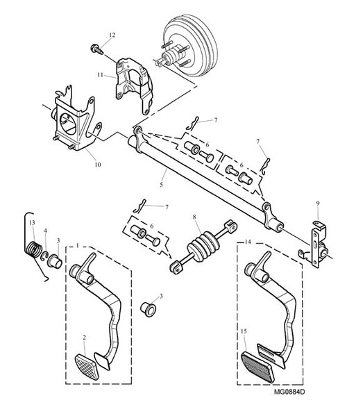 Brake Pedal Assembly - Manual - RHD - MGF from VIN YD514325 on. MG TF