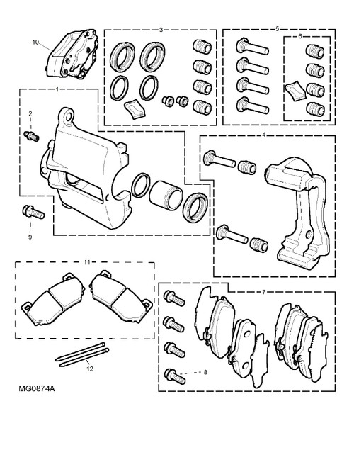 Screw-caliper to hub - All Models Except MGF Trophy. MG TF 160 & MG TF with Sportpack 2 Option
