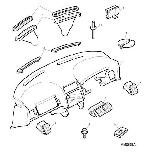 Fascia Moulding Assembly - RHD - Ash Grey - MG TF - NO COWL