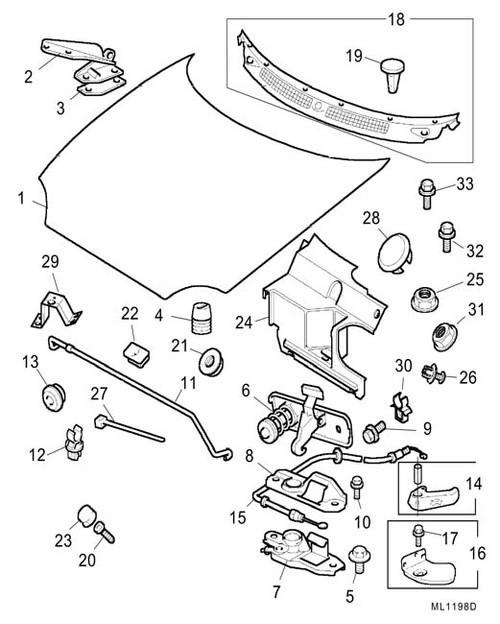 Bolt - M6 x 14 - bonnet hinge