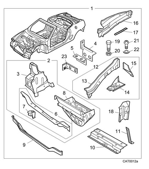 Platform and Weld Nut Assembly - Bonnet Locking - MG TF-Silver MBB