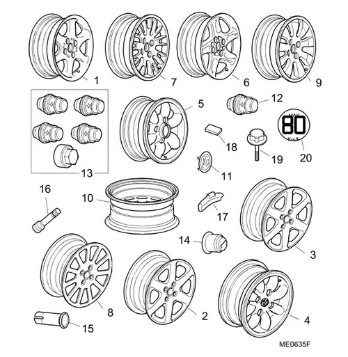 Bolt - Spare Wheel Retention - MGF (Not Trophy or MG TF 160)
