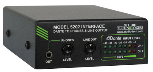 Model 5202 Dante® to Phones and Line Output Interface