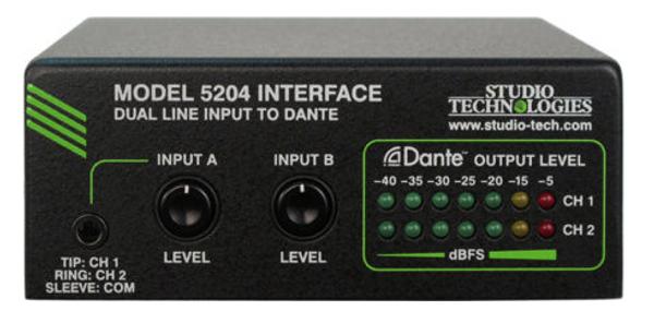 Model 5204 Dual Line Input to Dante Interface