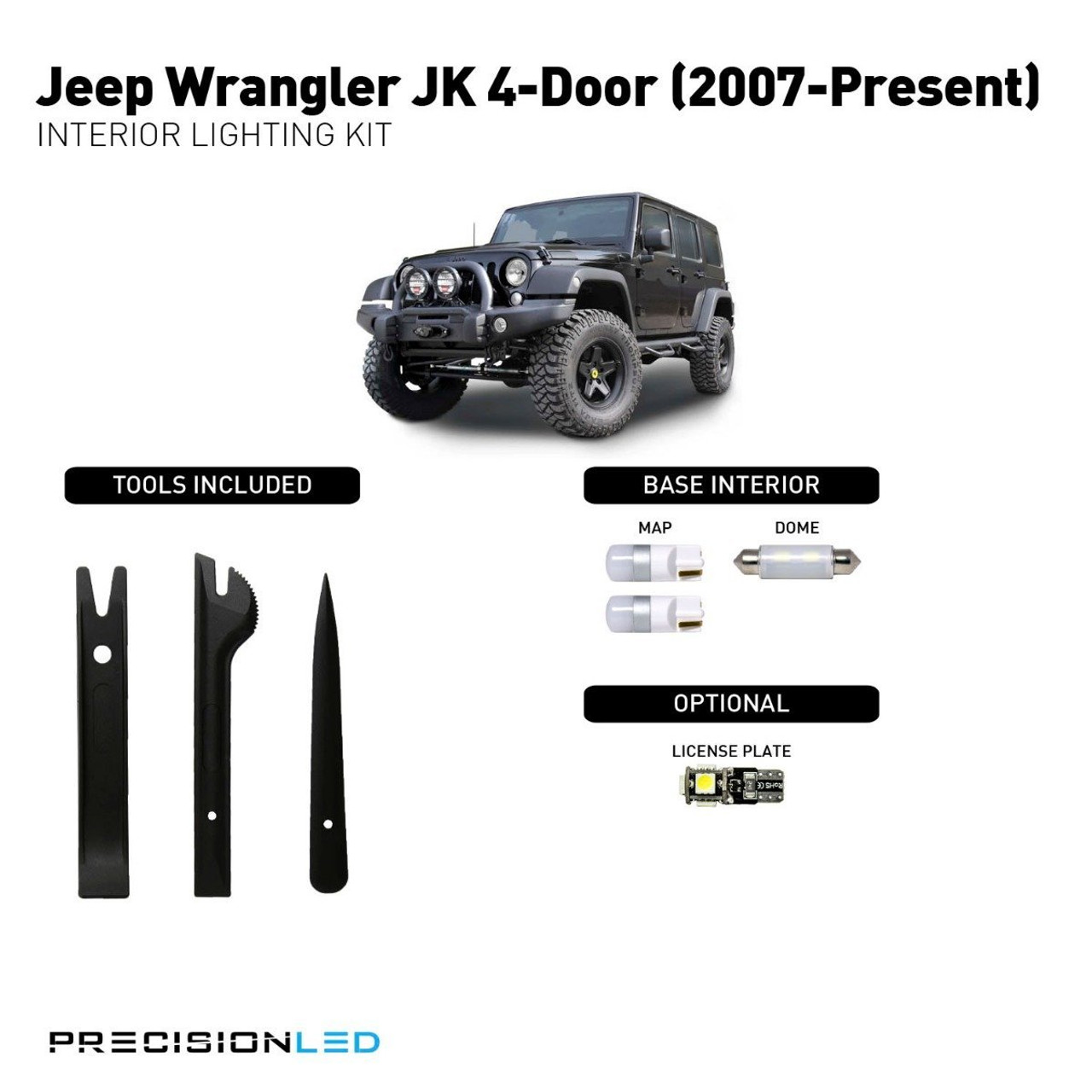 Jeep Wrangler JK 4-Door Premium LED Interior Package (2007-Present)