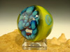 Art Glass Blue Goblin Marble Collectible Oddity Orb Sphere Monster Diety Kaleb Folck (ready to ship)