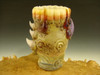 Hand blown Shot Glass Honey Drip Art Freaky Monster eye teeth blue Mazet VGW (ready to ship)
