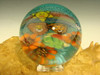 Large Glass Marble millefiorie Lion Nature scene Fantasy Milli Art Dichro Wolfe orb Sphere