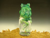 Glass Art Frog Chillin on Ice Green Toad Paperweight by Mazet Lampwork sculpture VGW.