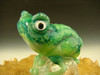 Glass Art Frog Chillin on Ice Green Toad Paperweight