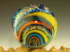 Large Dichroic Glass Vortex Marble Orb Rainbow, Aqua,Orange and Yellow optical Illusion Fibonacci Spiral by Tim Mazet  (Ready to Ship)