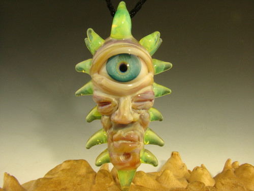 "Glass ""Eye of the Shaman"" Pendant necklace totem by Kenny Talamas"