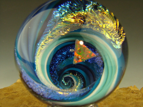 """1.8"""" Dichroic Glass Vortex Marble Orb with opal by Tim Mazet"""