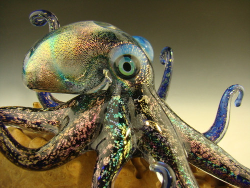Glass Octopus Dichroic Sculpture Aquarium Nautical Art by Chris Upp