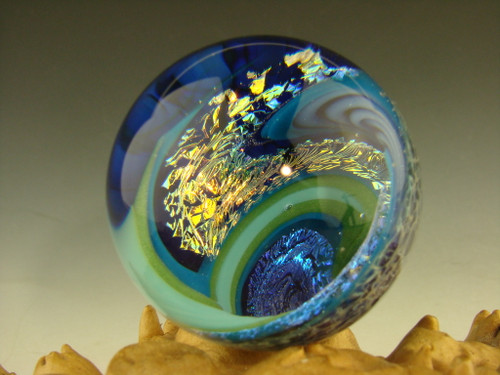 1.7' Dichroic Glass Wig Wag Vortex Marble by Tim Mazet