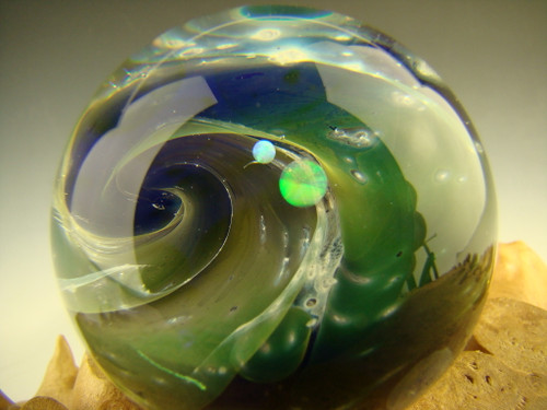 Glass Space Scene Marble with Opals by Kenny Talamas