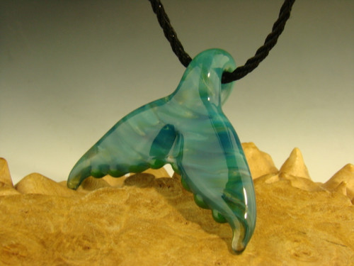 Glass Whale Tail Pendant focal bead necklace by Chris Upp