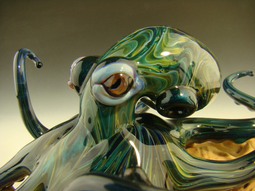 Glass Octopus Sculpture Art by Chris Upp