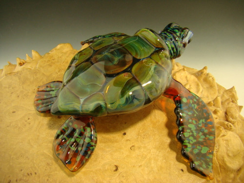 Glass Sea Turtle Sculpture figurine by Chris Upp