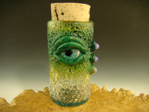 Hand blown Glass horny Eye Jar By Mazet