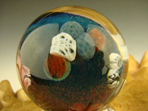 Coral Reef Ocean Glass Art Marble with Jellyfish Implosion Ocean Orb Aaron Slater