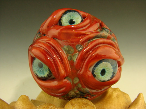 Dichroic Glass MONSTER VORTEX Marble Orb with 3 Eyes Lampwork oddity Art Orb Red