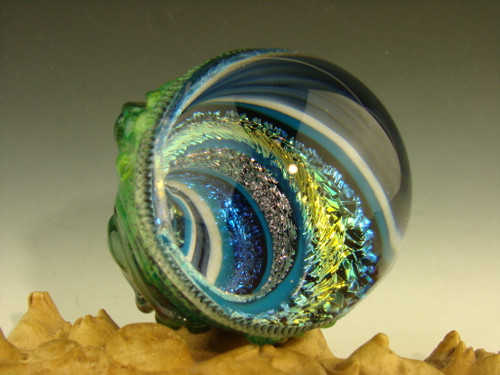 Dichroic Glass MONSTER VORTEX Marble sculpture by Mazet
