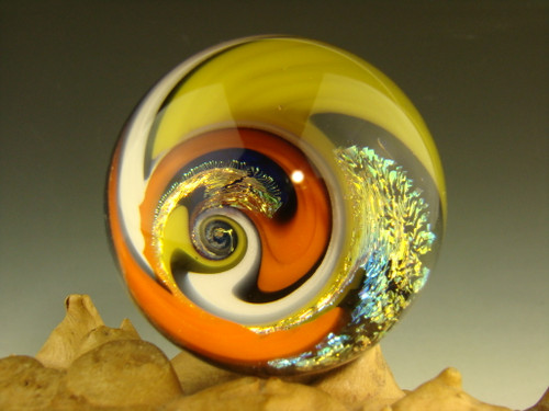 "1.7"" Dichroic Glass Vortex Marble intense Wig Wag Illusion Orb Spiral by Tim Mazet"