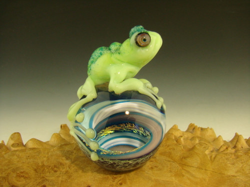 Frog on a Vortex Marble Paperweight by Eli Mazet