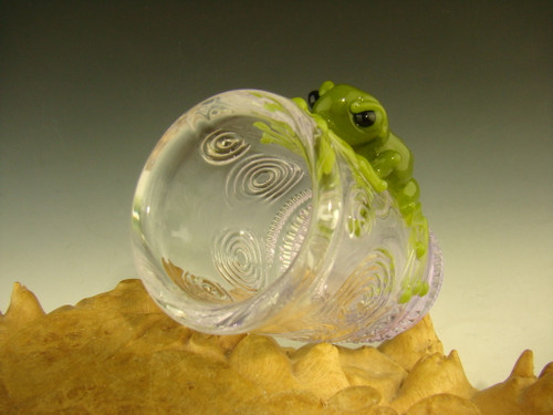 Green frog shot glass by Mazet